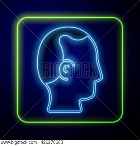 Glowing Neon Baldness Icon Isolated On Blue Background. Alopecia. Vector