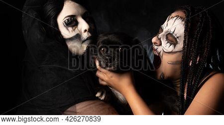 Supernatural Entities, Portrait Of Two Supernatural Entities Holding Their Sacrifice, Artistic Makeu