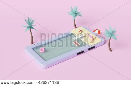 Mobile Phone Or Smartphone With Swimming Pool,palms,beach Chair,inflatable Flamingo,parasol,sandals,