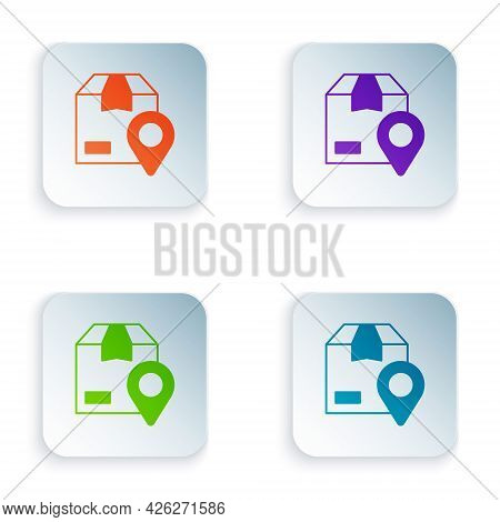 Color Location With Cardboard Box Icon Isolated On White Background. Delivery Services, Logistic And