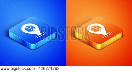 Isometric Location With Cardboard Box Icon Isolated On Blue And Orange Background. Delivery Services