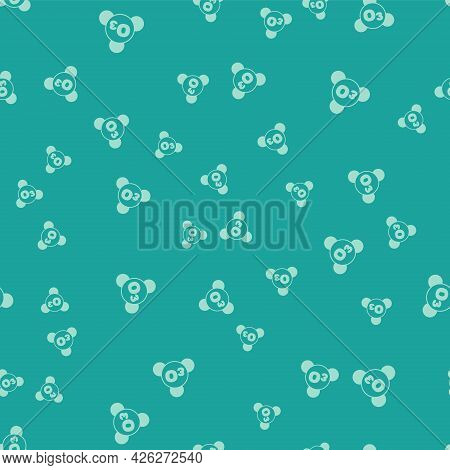 Green Ozone Molecule Icon Isolated Seamless Pattern On Green Background. Ozone, O3, Trioxygen, Inorg