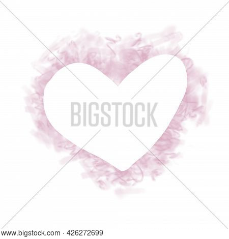 Watercolor Pink Heart With Space For Text. Hand Drawn Illustration Painted By Brush And Aquarelle. I