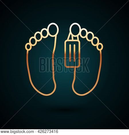 Gold Line Dead Body With An Identity Tag Attached In The Feet In A Morgue Of A Hospital Icon Isolate