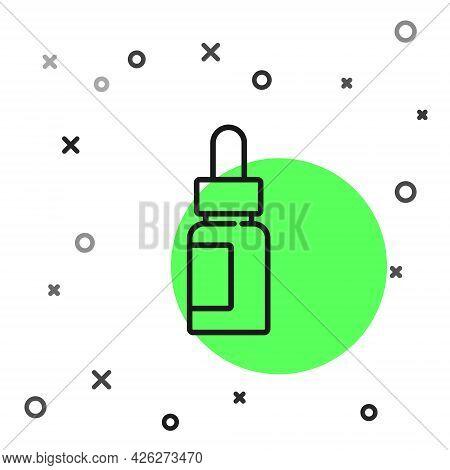 Black Line Essential Oil Bottle Icon Isolated On White Background. Organic Aromatherapy Essence. Ski