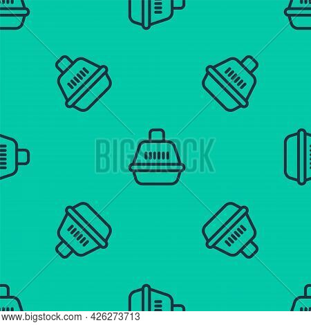 Blue Line Pet Carry Case Icon Isolated Seamless Pattern On Green Background. Carrier For Animals, Do