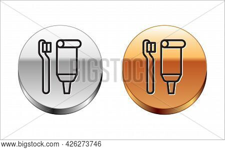 Black Line Toothbrush And Tube Of Toothpaste Icon Isolated On White Background. Disposable Bathroom