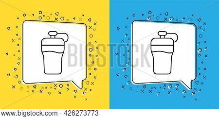 Set Line Fitness Shaker Icon Isolated On Yellow And Blue Background. Sports Shaker Bottle With Lid F