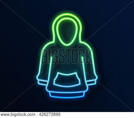 Glowing Neon Line Hoodie Icon Isolated On Blue Background. Hooded Sweatshirt. Vector