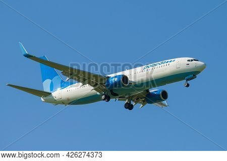 Saint Petersburg, Russia - May 29, 2021: Boeing 737-800 (vp-bfb) Of Pobeda Airlines In Blue Cloudles