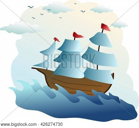 Image Of Vessel On The Sea With Clouds And Seagull