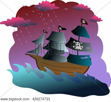 Illustration Of A Pirate Vessel Ride The Storm