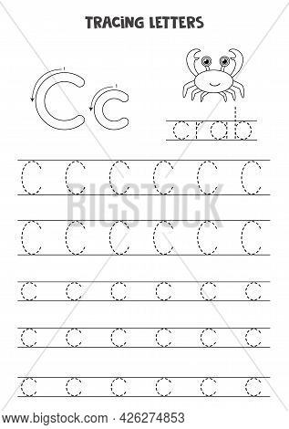 Trace Letters Of English Alphabet. Uppercase And Lowercase C C. Handwriting Practice For Preschool K
