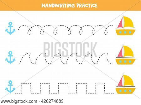 Tracing Lines For Kids With Cartoon Yacht And Anchor. Summer Worksheet.