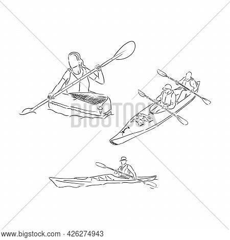 Kayak Sketch Vector Illustration Kayak Vector Illustration