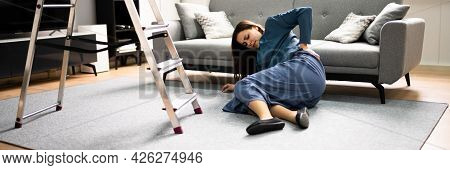 Clumsy Women Falling Ladder Incident. Injured Person On Floor