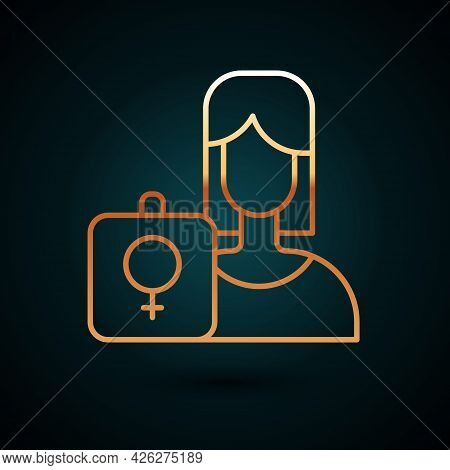Gold Line Female Movement, Feminist Activist With Banner And Placards Icon Isolated On Dark Blue Bac