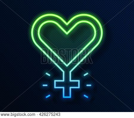 Glowing Neon Line Feminism Icon Isolated On Blue Background. Fight For Freedom, Independence, Equali