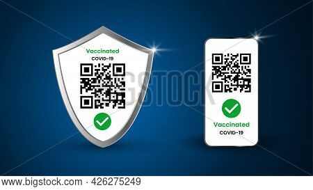 Protective Shield Against Viruses And Realistic Mobile Phone With Covid 19 Vaccination Certificates.