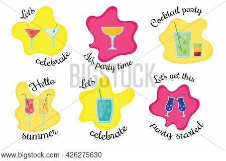 Set Of Tropical Cocktails Foe Decoration Party Invitation, Bar Menu. Cocktails On A Bright Backgroun