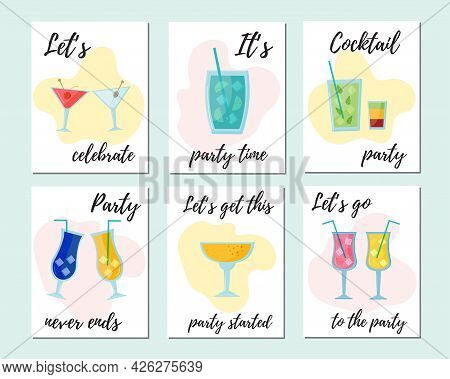 Colorful Summer Cocktail Party Invitation With Different Cocktails: Martini, Mojito, Blue Lagoon, Sh
