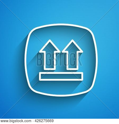 White Line This Side Up Icon Isolated On Blue Background. Two Arrows Indicating Top Side Of Packagin
