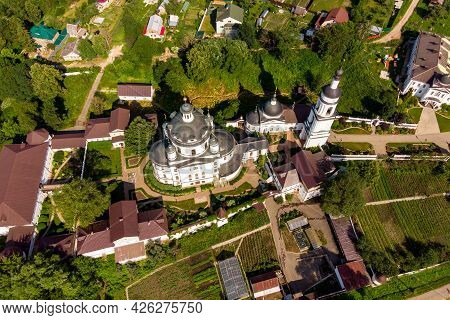 Aerial View Of The Female Orthodox Chernoostrovsky Monastery In Maloyaroslavets, Russia. June 2021