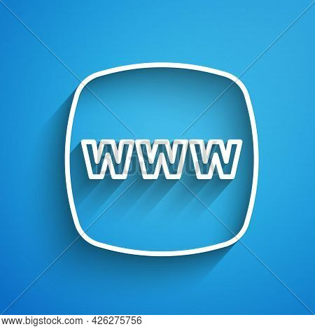 White Line Website Template Icon Isolated On Blue Background. Internet Communication Protocol. Long