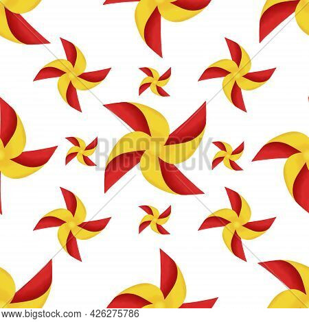 Drawing Yellow And Red Blades Of Paper Turbines Illustration, Colorful Blades Seamless Pattern On Wh