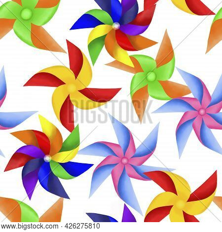 Drawing Colorful Blades Of Paper Turbines Illustration, Colorful Blades Seamless Pattern On White Ba