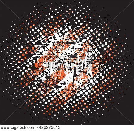 Grunge Halfton, Texture With Shabby Old Stripes In Black And Red, Design Flat Style Vector Illustrat