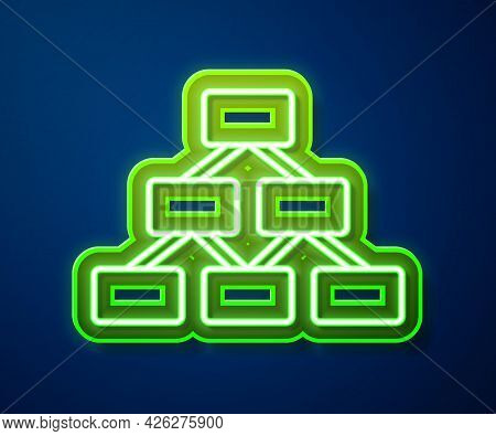 Glowing Neon Line Business Hierarchy Organogram Chart Infographics Icon Isolated On Blue Background.