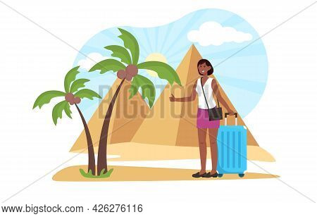 Young Frmale Character Has A Journey To Pyramids. Smiling Woman Standing With Suitcase In Egypt With