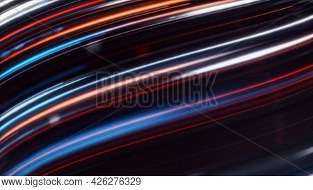 Curving Stream Of Luminous Lines. Animation. Fast Light Flow From Bright Lines. Moving Colorful Line