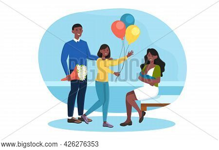 Happy Family Is Celebrating A Newborn Child In Hospital. Loving Daughter And Husband With Bouquet Fo