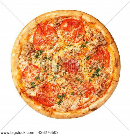Pizza With Tomato Slices, Beef Slices With Cheese And Fresh Herbs Overhead View Isolated On White Ba