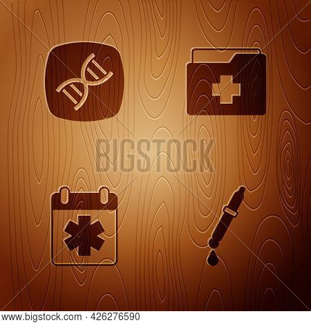Set Pipette, Dna Symbol, Doctor Appointment And Patient Record On Wooden Background. Vector
