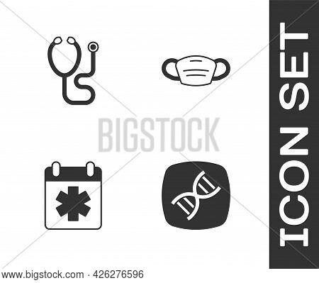 Set Dna Symbol, Stethoscope, Doctor Appointment And Medical Protective Mask Icon. Vector