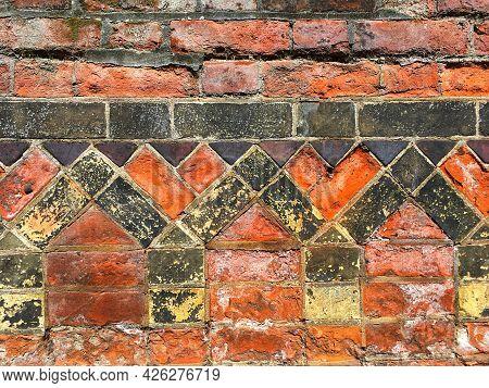 Ornately Patterned Brickwork On Wall Of Old Church, Norwich, Norfolk, Uk