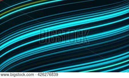 Vibrating Light Lines Moving On Black Background. Animation. Neon Lines Move In Curving Stream. Lumi