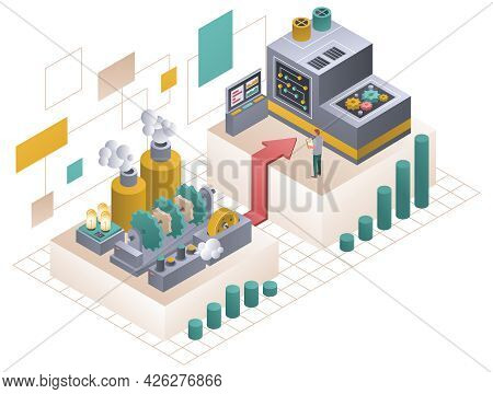 Isometric Vector Illustration Of Improvement Process The Process Of A Thing Moving From One State