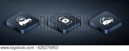 Set Isometric Eco Car, Charging At Home And Battery Charge Icon. Vector