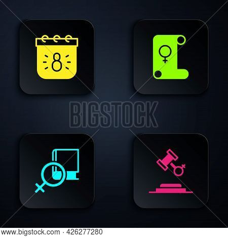 Set Female Rights, Calendar With 8 March, Book About Women And Feminism. Black Square Button. Vector