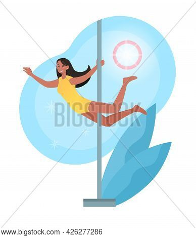 Smiling Female Character Is Training Pole Dance In Studio. Young Cheerful Girl Is Pole Dancing For S