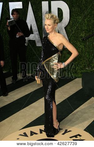 WEST HOLLYWOOD, CA - FEB 24: Naomi Watts at the Vanity Fair Oscar Party at Sunset Tower on February 24, 2013 in West Hollywood, California