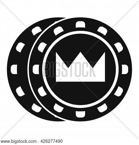 Crown Token Chips Icon Simple Vector. Casino Poker. Vegas Play Token