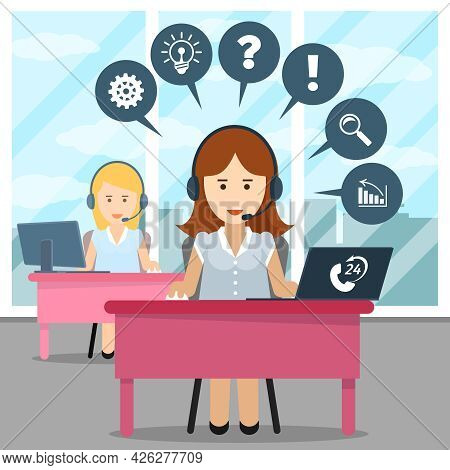 Call Center Operator. Help And Headset, Office And Communication, Contact Helpline, Assistance Or Co