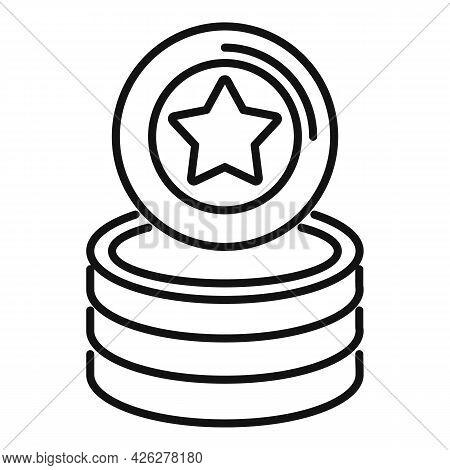 Star Token Icon Outline Vector. Bonus Reward. Loyalty Coin