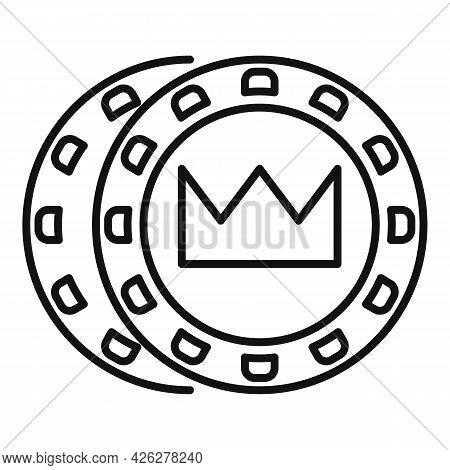 Crown Token Chips Icon Outline Vector. Casino Poker. Vegas Play Token