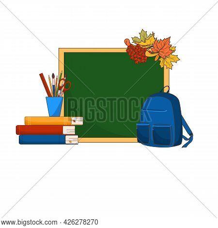 School Equipment, Back To School Concept, School Backpack, School Board, Books Pencils, Ruler, Sciss